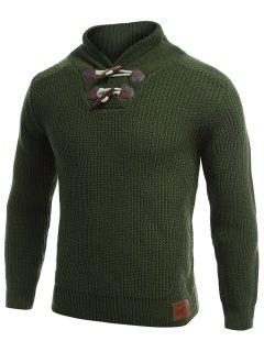 Flat Knitted Pullover Toggle Sweater - Green L