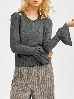 Cut Flared Manches Out V Neck Sweater - Gris