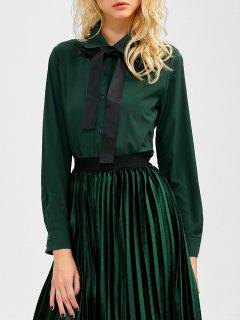 Boyfriend Manches Longues Bowknot Shirt - Vert Foncé L