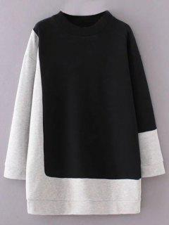 Mock Neck Color Block Sweatshirt - Black And Grey S