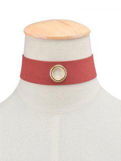 Velvet Rivet Hole Wide Choker - Burgundy