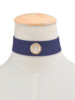 Velvet Rivet Hole Wide Choker - Cadetblue