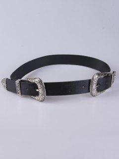 Embellished Double Buckle Belt - Black