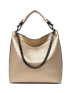 Argyle Double Buckle Chain Tote Bag - Golden
