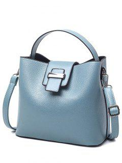 Magnetic Closure Textured Leather Metallic Tote Bag - Light Blue