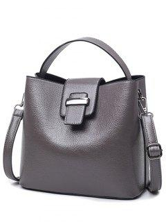 Magnetic Closure Textured Leather Metallic Tote Bag - Deep Gray