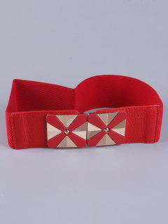 Square Alloy Stretch Belt - Red