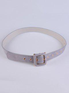 Square Buckle Velvet Belt - Gray