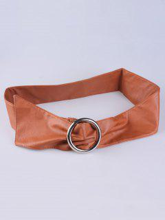 Alloy Ring PU Belt - Antique Brown