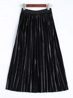 Shiny Pleated Midi Skirt - Black S