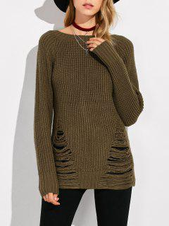 Ripped Chunky Crew Neck Sweater - Army Green L