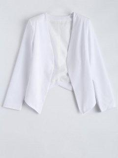 Collarless Open Front Blazer - White M