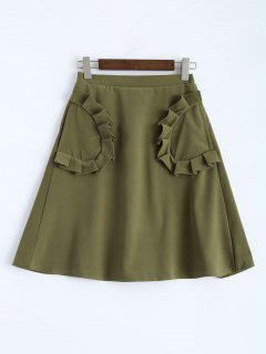 A Line High Rise Pockets Skirt - Army Green S