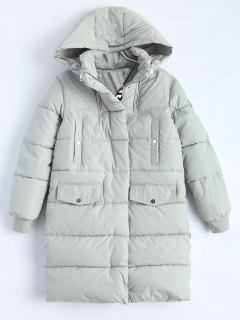Hooded Quilted Padded Coat - Gray M