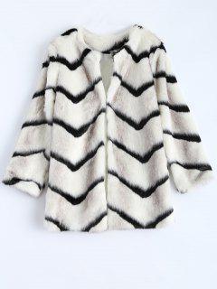 Zig Zag Faux Fur Coat - White