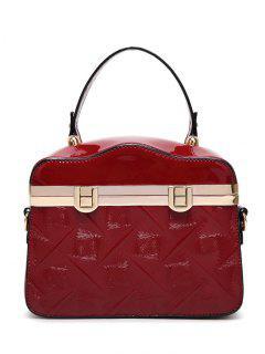Embossed Metal Trimmed Handbag - Wine Red
