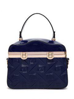 Embossed Metal Trimmed Handbag - Deep Blue