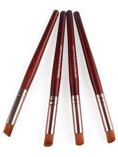 4 Pcs Angled Eye Makeup Brushes Set - Red