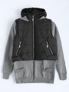 Contrast Knit Quilted Jacket - Black And Grey M