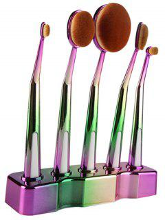 5 Pcs Ombre Toothbrush Shape Makeup Brushes Set With Holder - Green