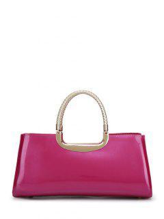 Braid Patent Leather Handbag - Rose Red