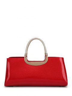 Braid Patent Leather Handbag - Red