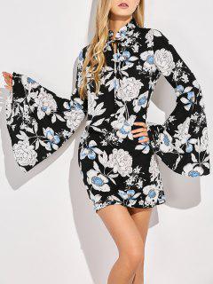 Floral Print Bell Sleeves Dress - Black S