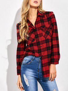 Tartan Print Casual Shirt - Red With Black S