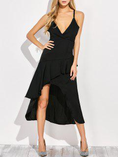 Thin Strap Asymmetric Ruffled Cocktail Dress - Black S
