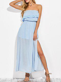 Layered Bandeau Maxi Dress - Light Blue S