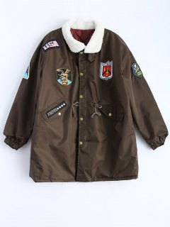 Borg Collar Applique Parka - Coffee