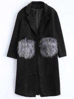 Manteau Oversized Avec Poches En Fausse Fourrure - Noir S