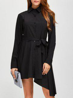 Asymmetric Long Sleeve Button Up Shirt Dress - Black M