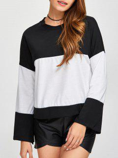 Loose Color Block Sweatshirt - White And Black M