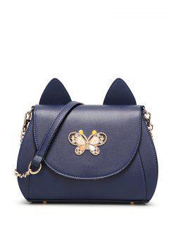 Cat Ear Strass Papillon Sac Bandoulière - Bleu Foncé