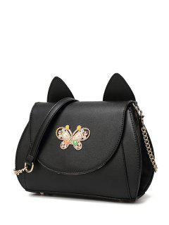 Cat Ear Rhinestone Butterfly Crossbody Bag - Black