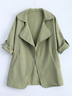 Loose Duster Coat - Army Green M