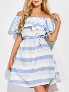 Robe Rayée épaule Dénudée à Volants - Bleu Et Blanc M