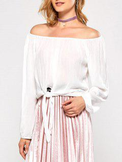 Off The Shoulder Avant Knot Blouse - Blanc M