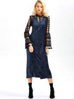 Velvet Slit Midi Dress - Sapphire Blue M