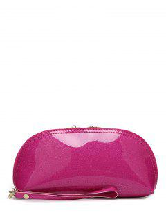 Zipper Around Patent Leather Wristlet - Rose Red