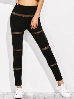 Mesh Panel Leggings Minceur - Noir S