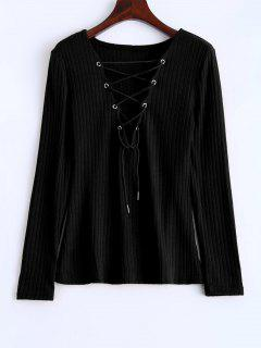 Ribbed Knit Lace Up Jumper - Black M