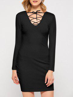 Lace Up Plongeant Neck Robe Moulante - Noir L