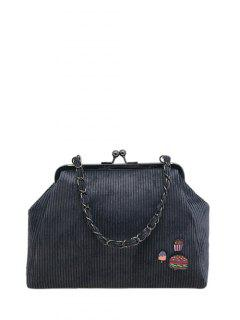 Ribbed Chain Kiss-Lock Closure Tote Bag - Deep Gray