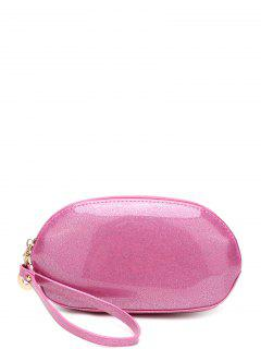 Glitter Zip Around Patent Leather Wristlet - Pink