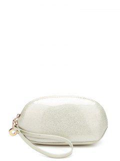 Glitter Zip Around Patent Leather Wristlet - Off-white
