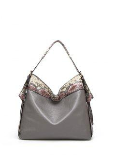 Snake Print Panel Shoulder Bag - Gray
