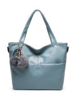 Pompons PU Leather Shouder Bag - Blue