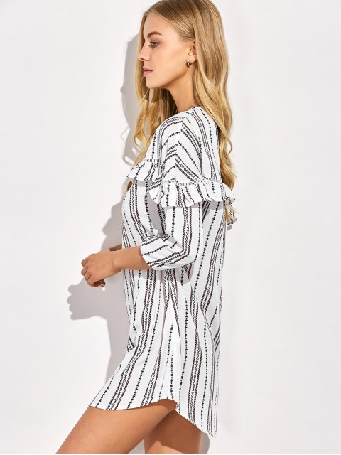 ladies Round Neck Ruffles Striped Shift Dress - WHITE XL Mobile